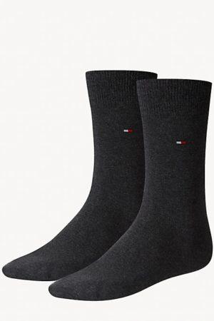 tommy hilfiger sokken 2-pack antraciet grijs mt 43-46