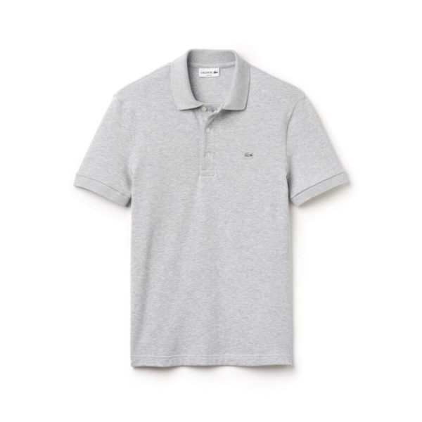 lacoste polo slim fit stretch argent chine
