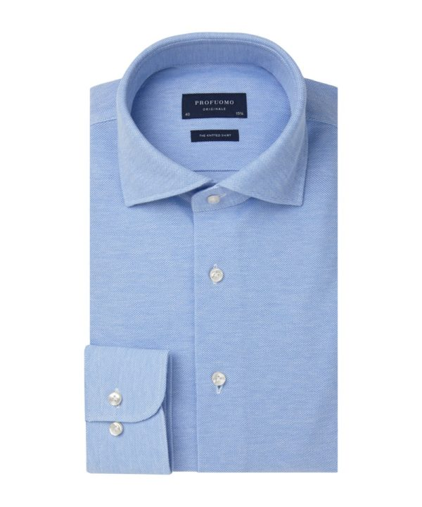 profuomo knitted overhemd light blue