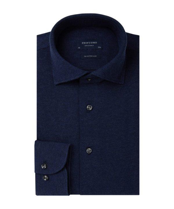 profuomo knitted overhemd navy melange